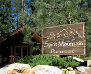 the sign for Spirit Mountain Retreat